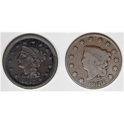 2 EARLY LARGE CENTS, 1822 AND 1843 LARGE LETTERS
