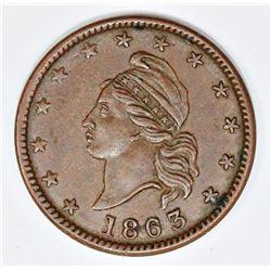 1863 CSA OBVERSE DIE CIVIL WAR TOKEN PATRIOTIC