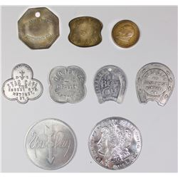 UNUSUAL LOT OF 9 VARIOUS TOKENS 1880'S