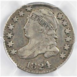 1824/2 BUST DIME VERY RARE JR 1824/2