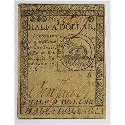 2/17/1776 HALF DOLLAR CONTINENTAL CURRENCY