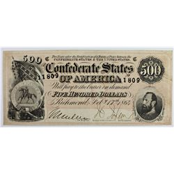 $500 CONFEDERATE NOTE