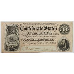 1864 $500 CONFEDERATE STATES OF AMERICA