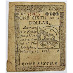 2-17-1776 $1/6 CONTINENTAL