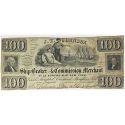 1850'S $100 BROKER AND COMMERCIAL