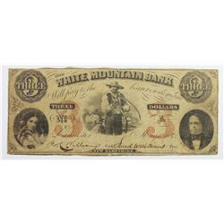 1860 $3 WHITE MOUNTAIN BANK
