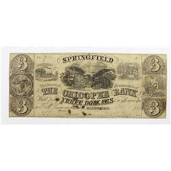 1841 $3 CHICOPEE BANK SPRINGFIELD MASS
