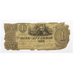 1837 $1 BANK OF ANN ARBOR MICHIGAN