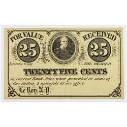 1860'S CIVIL WAR FRACTIONAL SCRIP .25