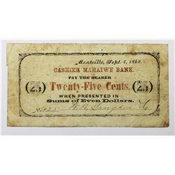 VERY RARE 1862 TWENTY FIVE CENT SCRIP