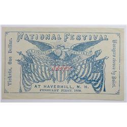 1858 NATIONAL FESTIVAL TICKET