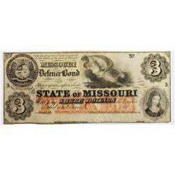 1860'S $3 STATE OF MISSOURI