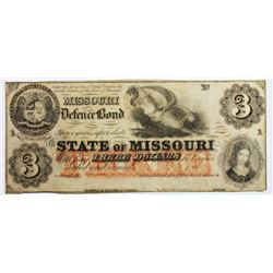 1860'S $3 STATE OF MISSOURI