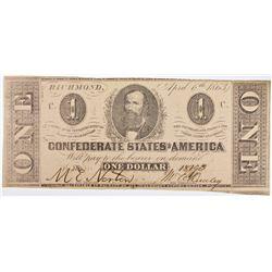 1863 CONFEDERATE $1 NOTE