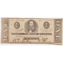 1863 CONFEDERATE $1 NOTE