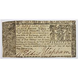 1774 MARYLAND $4