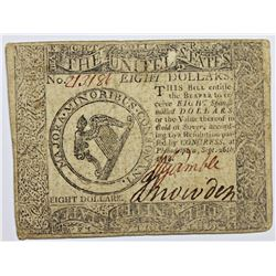 1778 $8 CONTINENTAL CURRENCY
