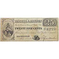 1852 BISSELL & AMSDEN TWENTY FIVE CENTS