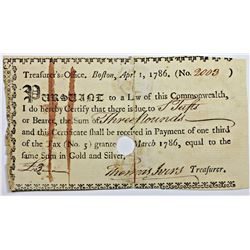 1786 BOSTON TREASURY WARRANT