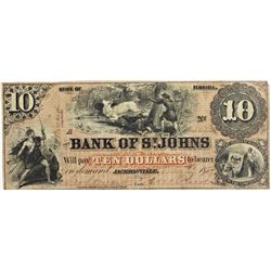 SCARCE BANK OF ST JOHNS $10 NOTES