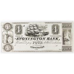 1850'S $4 UNISSUED STONINGTON BANK