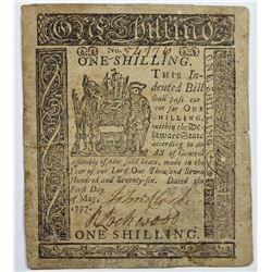 5/1/1777 1 SHILLING DELAWARE COLONIAL