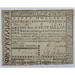 5-7-1781 $50 VIRGINIA