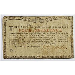 1775 NEW YORK WATER WORKS FOUR SHILLING