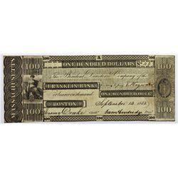1833 $100 OBSOLETE BOSTON FRANKLIN BANK