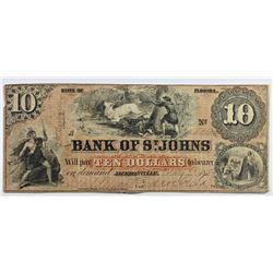 1859 $10 FLORIDA OBSOLETE ST. JOHNS BANK