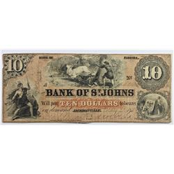 1859 $10 FLORIDA OBSOLETE ST. JOHNS BANK