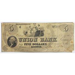 1854 $5 BOSTON UNION BANK