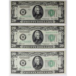 (3) 1934-C $20 FEDERAL RESERVE NOTES