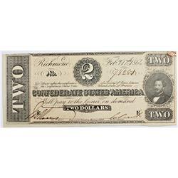 1864 $2 CONFEDERATE NOTE