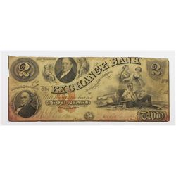 1850'S $2 THE EXCHANGE BANK
