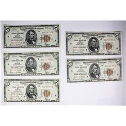 5 CONSECUTIVE. $5 NATL. SER. OF 1929 BROWN SEALS