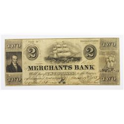 1857 $2 MERCHANTS BANK NEWBURYPORT, MASS.