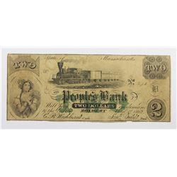 VERY RARE 1862 $2 THE PEOPLES BANK ROXBURY, MASS.