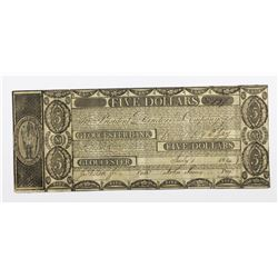 1814 $5 GLOUCESTER BANK, MASS. QUITE RARE