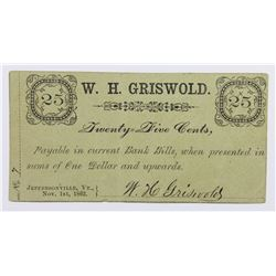 UNLISTED 1862 .25 CIVIL WAR SCRIP