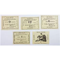 5 PIECE LOT 1814 NY SCRIP