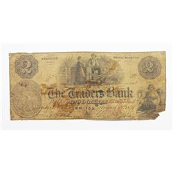 1858 $2 TRADERS BANK SEATED $ VIGNETTE