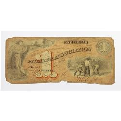 1856 UNLISTED PIONEER ASSOC. $1 INDIANA
