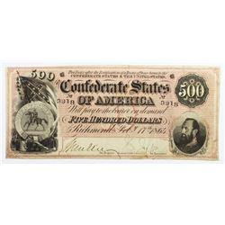 2/17/1864 $500 CONFEDERATE NOTE