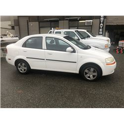 2006 CHEVROLET AVEO LTD, 4DR SEDAN, WHITE, VIN # KL1TG59646B599213