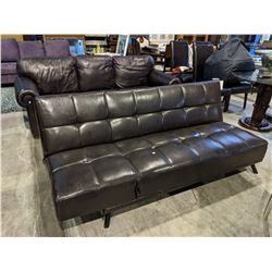 BROWN LEATHER CLICK CLACK COUCH