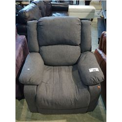 GREY FABRIC RECLINING ARMCHAIR