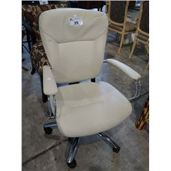 WHITE LEATHERETTE ROLLING OFFICE CHAIR