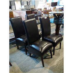 4 BROWN LEATHER DINING CHAIRS
