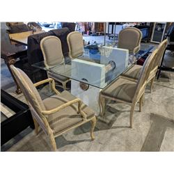 MODERN GLASS DINING TABLE WITH 6 CARVED WOOD DINING CHAIRS
